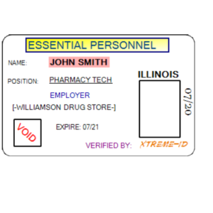 ESSENTIAL PERSONEL IDENTIFICATION CARD